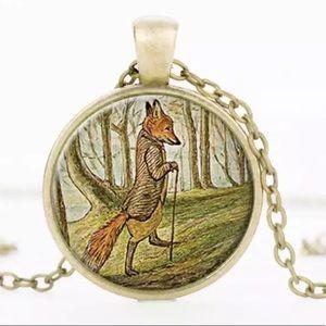 Walking Woodland Fox Pendant Necklace